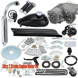 2 Stroke 49cc 50cc Bicycle Petrol Gas Motorized Engine Bike Motor Kit Silver US