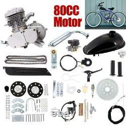 80cc Bicycle Motor Kit Bike Motorized 2 Stroke Petrol Gas Engine Full Set Silver