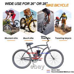 80cc Bike Bicycle Motor Kit Motorized 2 Stroke Petrol Gas Engine Set Black US