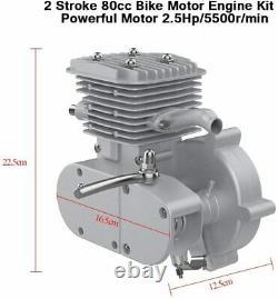 Bike Motor 2-Stroke 80cc Petrol Gas Motorized Bicycle Engine Kit DIY Sliver