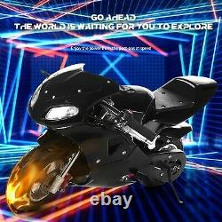 Mini Gas Power Pocket Bike Motorcycle 49cc 4-Stroke Engine+ Lamp For Kids &Teens