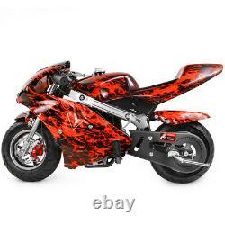 Mini Pocket Bike Gas 40cc Motorcycle 4-Stroke Engine EPA Motor Red Flame