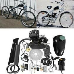 Updated 2 Stroke 80cc Bike Motor Engine Kit For Motorized Bicycle DIY US Silver