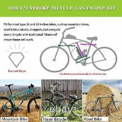 100cc 2 Stroke Gaz Moteur Moteur De Vélo Kit Bricolage Moto Chrome Argent Nouveau