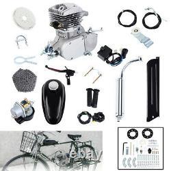 2-stroke 80cc Gaz Essence Moteur Kit Moteur Pour Vélo Motorisé Pipe Argent