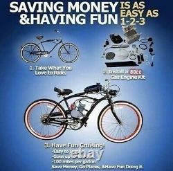 Amélioré! 80cc Motorised Bicycle Push Bike 2 Stroke Motor Engine Kit Essence
