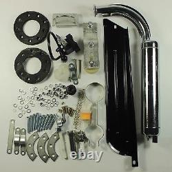Black 80cc Bike 2 Stroke Gas Engine Motor Kit Diy Motorized Bicycle Chrome Pipe