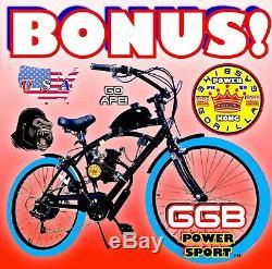 Complet 2-stroke 66cc / 80cc Motorized Bike Moteur Kit Avec Cruiser Vélo