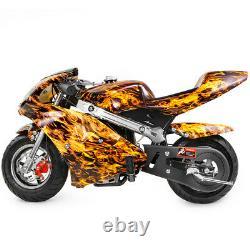 Gas Pocket Super Mini Moto Moto Enfants 40cc 4-stroke Moteur Flame Jaune