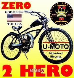 Kit Complet De Moteur De Vélo Motorisé 66/80cc 2 Temps Avec Vélo Et Tuyau D'alimentation