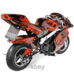Mini Pocket Bike Gas 40cc Moto 4-stroke Engine Epa Motor Red Flame