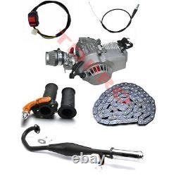 Moteur 49cc Moteur Kit 2 Stroke Tirez Démarrage Mini Pocket Pit Bike Échappement Des Gaz