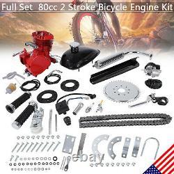 Rouge 80cc 2-stroke Moteur À Gaz Moteur Moteur Moto Vélo Moto Kit Complet Scooter