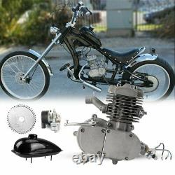 Silver 80cc Vélo Vélo Motorisé 2 Stroke Essence Gaz Bricolage Moteur Kit Ensemble